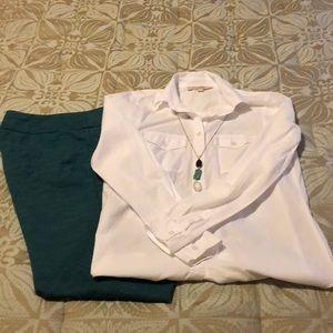 LOFT classic button down textured white blouse